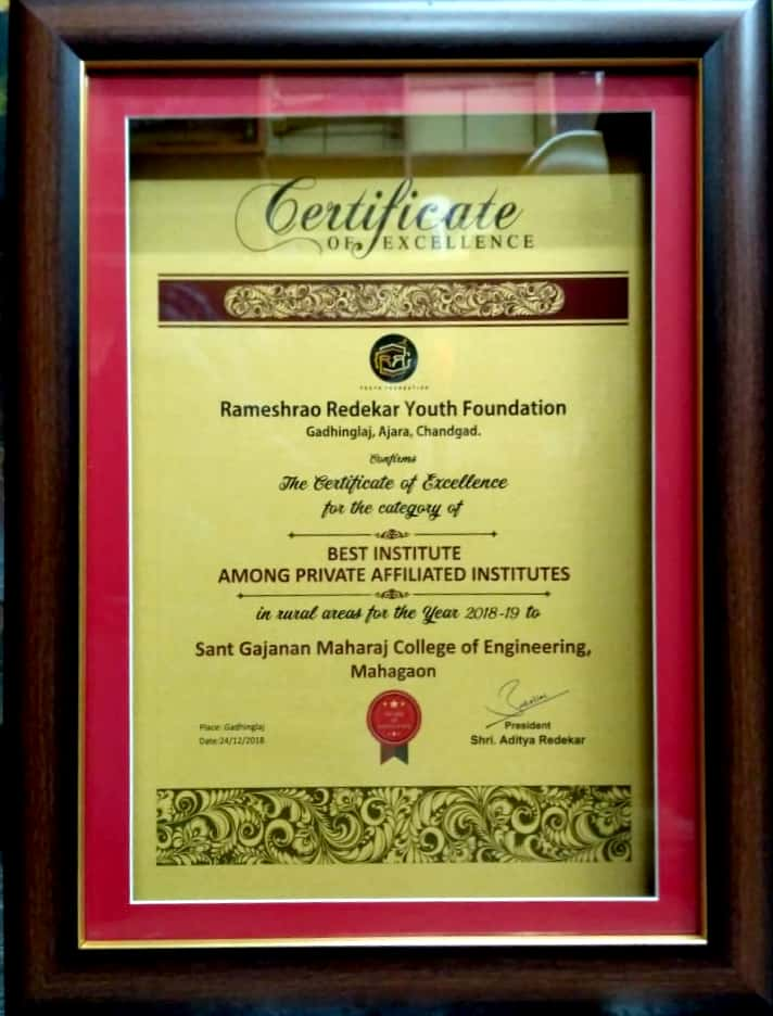 SGMCOE Got Best Institute Award among private affi